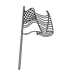 united states of america flag waving pole line vector image