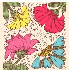 Vintage background with amazing flowers like vector image vector image