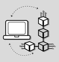 concept line icon computer internet connection vector image vector image