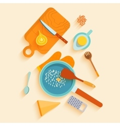 Flat lay design card with recipe of saffron vector image