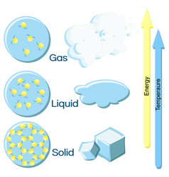 fundamental states of matter on example of water vector image