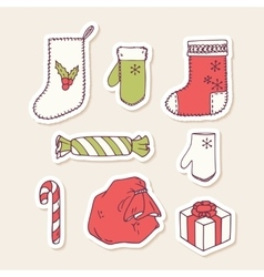 Set of hand drawn christmas stickers Doodle vector image vector image
