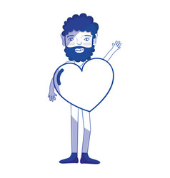 Silhouette man with beard and heart in the chest vector