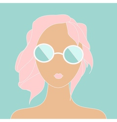 Stylish girl with pink hair vector image