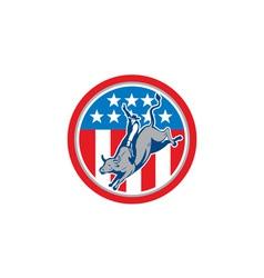 American rodeo bull riding circle cartoon vector