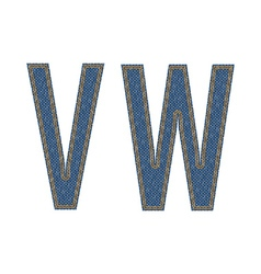 Denim fabric stithed letters vector image vector image
