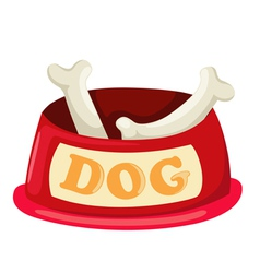 dog bowl with big bone vector image