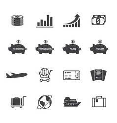 finance and money icon set vector image vector image