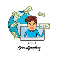 Global business connections with bills cash moey vector