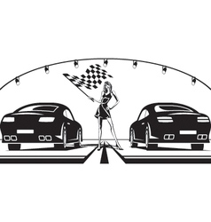 Grid girl launches car race vector image vector image