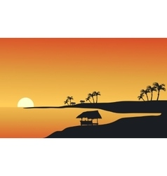 Silhouette of beach at morning vector image vector image