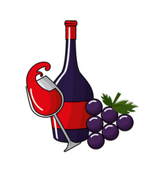 bottles and glass wine and grape fruit vector image vector image