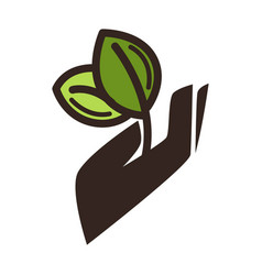 gardening eco environment icon of hand and vector image vector image