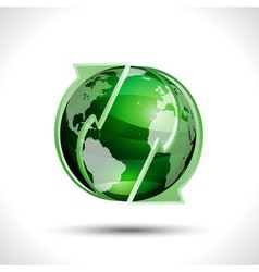 Green globe with arrows vector image vector image
