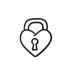 lock shaped heart sketch icon vector image