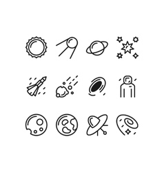 Modern set of space line icons vector image
