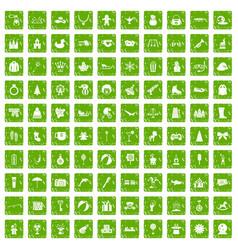 100 children icons set grunge green vector image