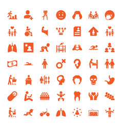 49 human icons vector image