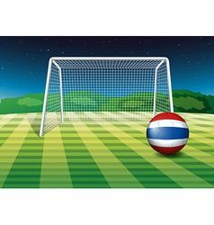 A ball at the field with the flag of Thailand vector image