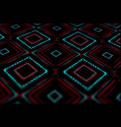 Abstract background with glowing square shapes vector