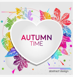 abstract light card autumn time with leaf prints vector image