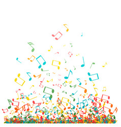 abstract music background with color notes symbols vector image