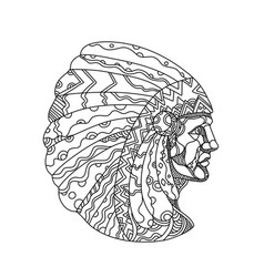 American plains indian with war bonnet doodle vector