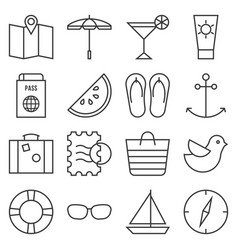 beach element outline icon set vector image