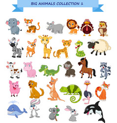 big animals collection set vector image