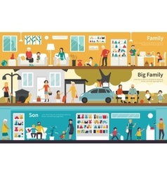 Big Family Son flat interior outdoor concept web vector image