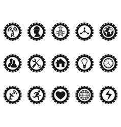 black gear concept icons set vector image