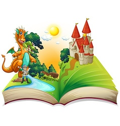 Book of dragon and knight vector image