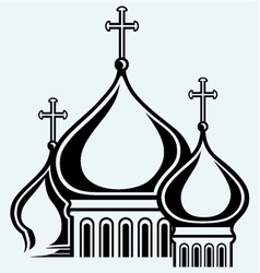Bulbous domes of orthodox cathedral temple vector
