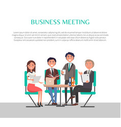 Business meeting poster people sitting at table vector