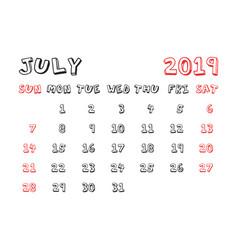 Calendar july 2019 year in cartoon child style vector