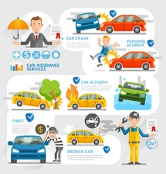 Car insurance business character and icons vector