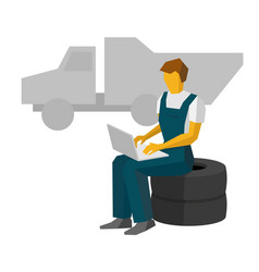 car mechanic sitting on a tires work with laptop vector image