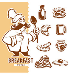 cartoon chef and breakfast food menu linear vector image