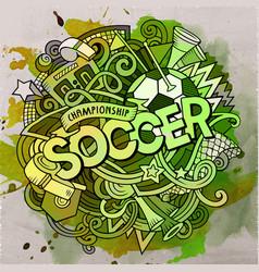 Cartoon cute doodles hand drawn soccer vector