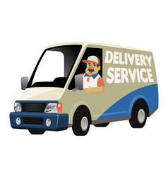 cartoon delivery service worker driving the vector image