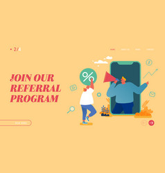 Characters referral program strategy network vector