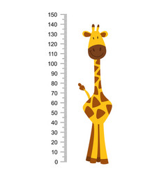 Cheerful funny giraffe with long neck height vector