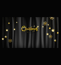 christmas on black fabric background vector image