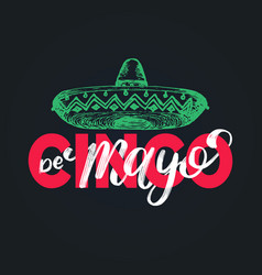 Cinco de mayo hand lettering translation from vector