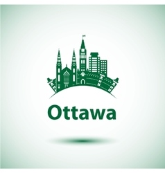 City skyline with landmarks Ottawa Ontario vector