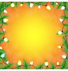 Color Bulb Garland With FirTree vector image
