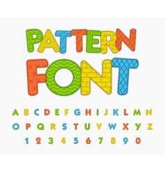Colorful comic font Funny alphabet with different vector