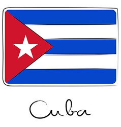 Cuba doodle flag vector image