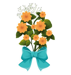 Cute flowers with bown vector