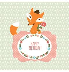 Cute fox Greeting card vector image
